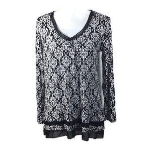 Ann Klein Black White Ornamental Tunic Size S NWT